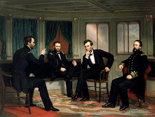 President Abraham Lincoln with generals